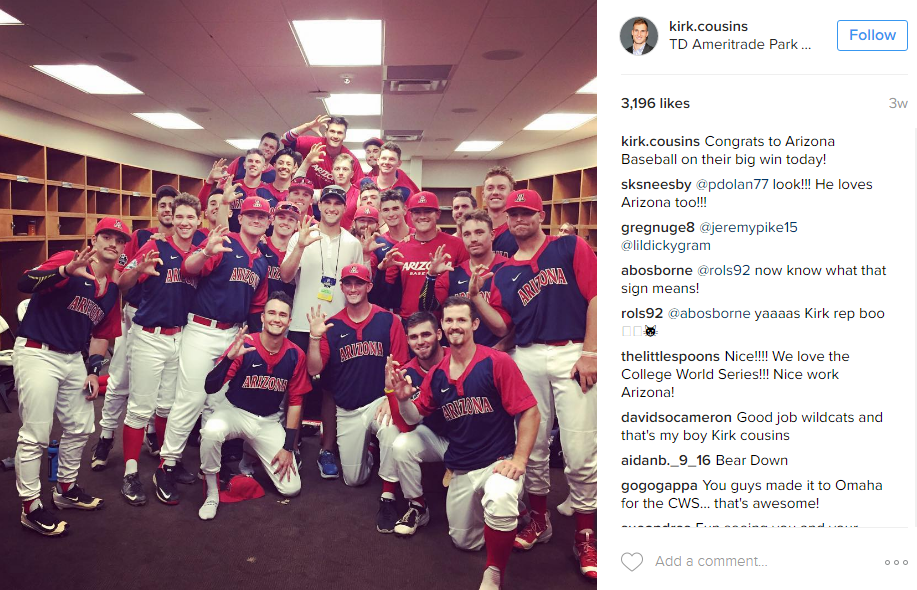 Or hanging with the Arizona baseball team after the College World Series.(Image: @kirk.cousins Instagram)