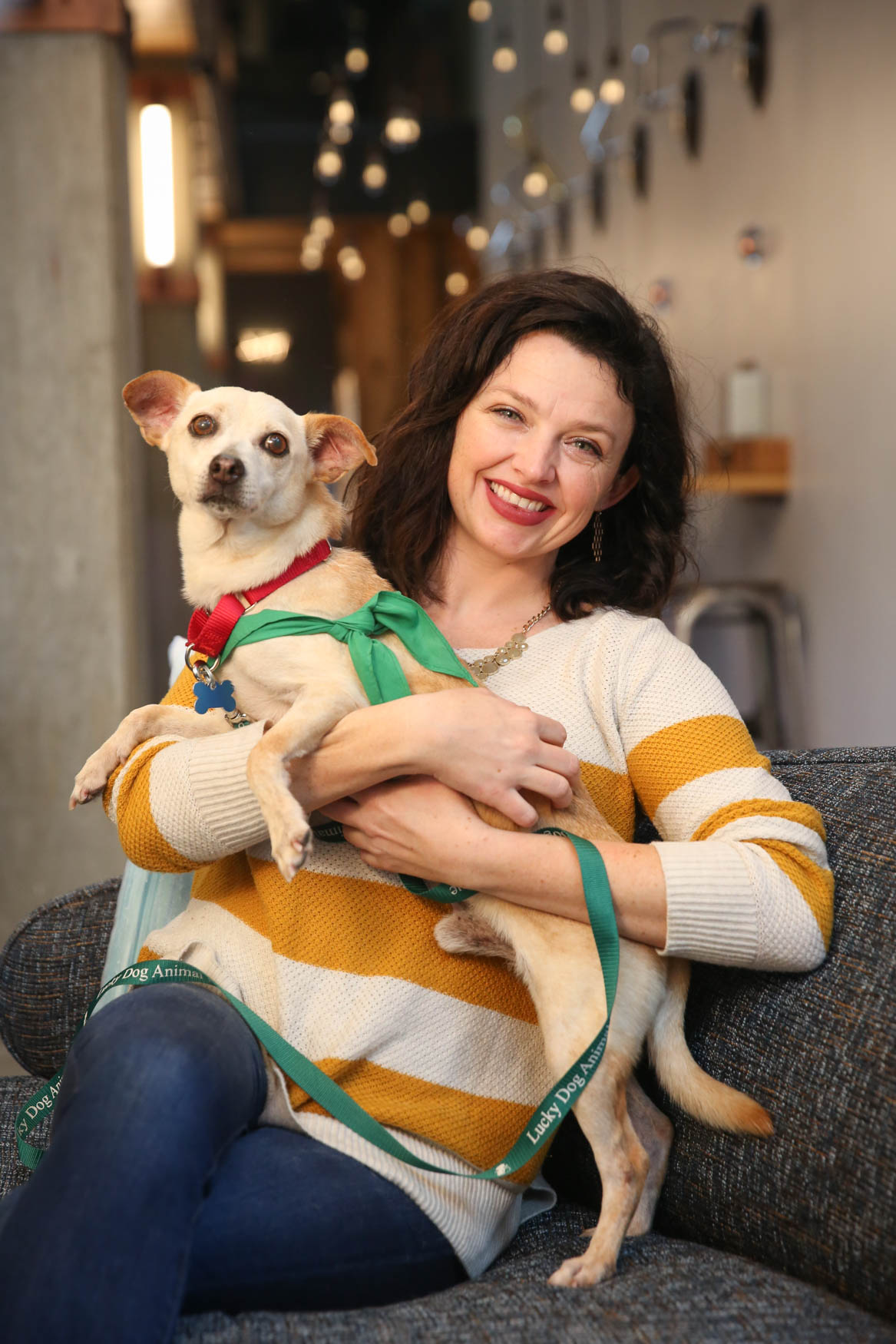 Meet Joaquin and Stephanie, a 3/4-year-old Chihuahua mix and a 30-year-old human respectively. Photo location: Moxy Washington, D.C. Downtown (Image: Amanda Andrade-Rhoades/ DC Refined)