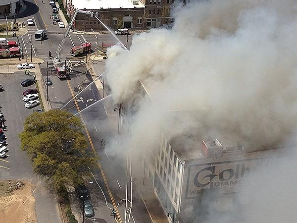 Aerial view of a large building fire in downtown Birmingham on Friday, March 29, 2013.