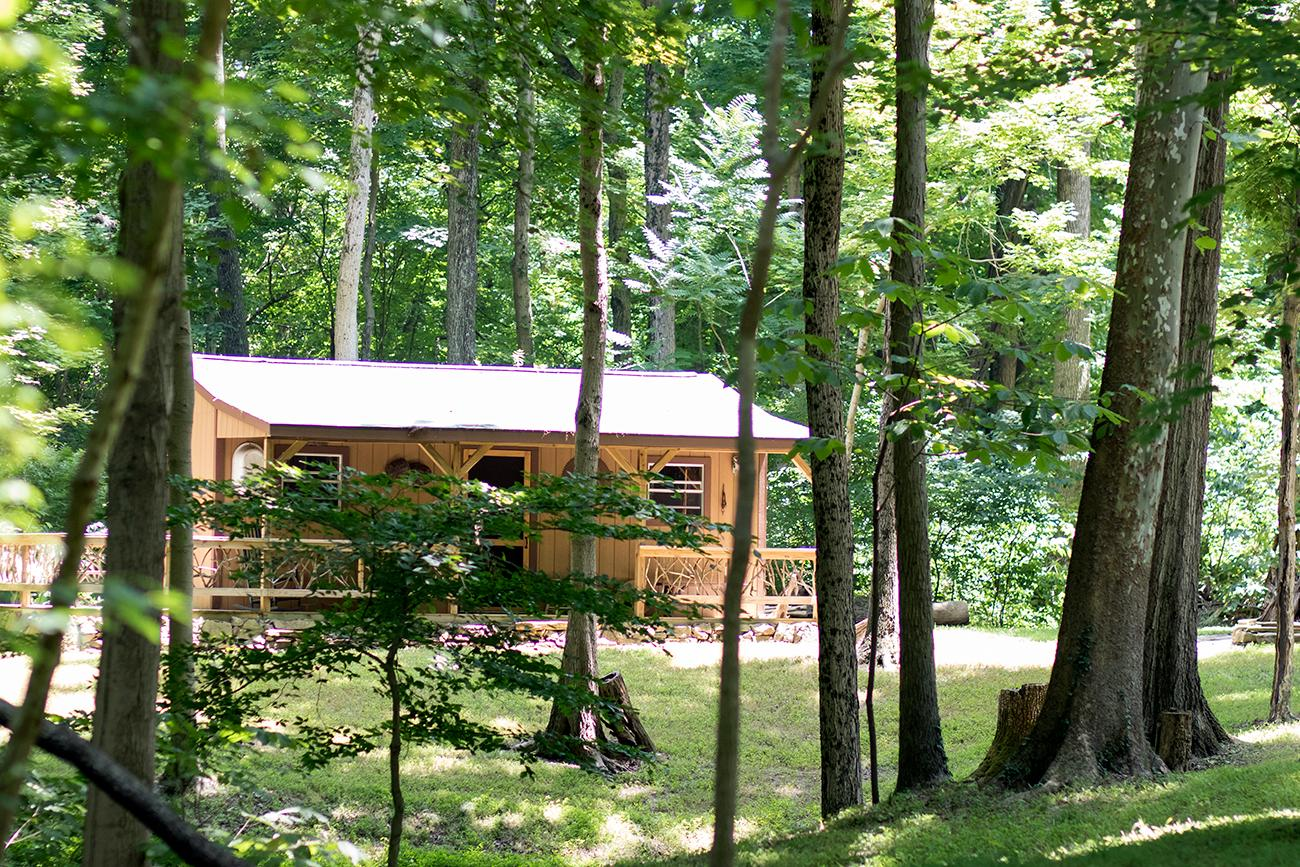 Jim Kenneweg built this log cabin that sits behind the house a few hundred yards in the secluded woods. Complete with a small kitchen and fire pit, the cabin is a perfect get away from city life. / Image: Allison McAdams // Published: 7.25.18
