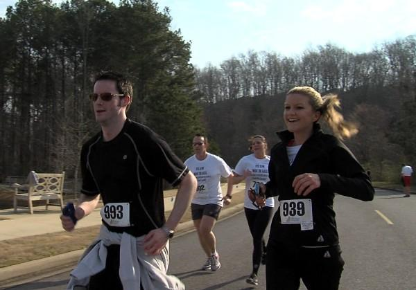 ABC 33/40 reporter Sarah Snyder running in the 9th Annual Brenda Ladun Conquer Cancer Run on Saturday, March 9, 2013.