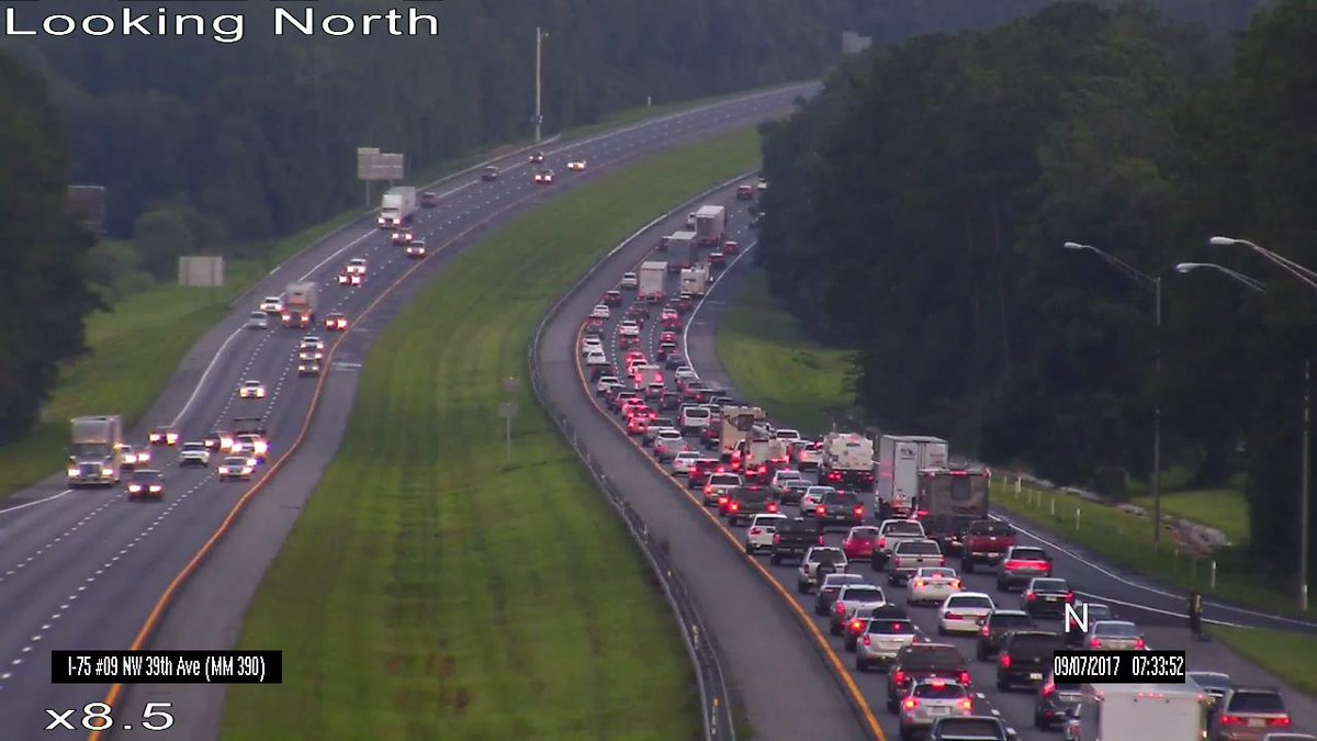 Congested traffic on I-75 northbound near Gainesville.