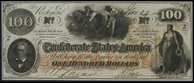 The Confederacy issued its own currency during the War, such as this $100 bill from 1862. Since the currency was to fund the war and not backed by silver or gold, it became worthless after the South lost.