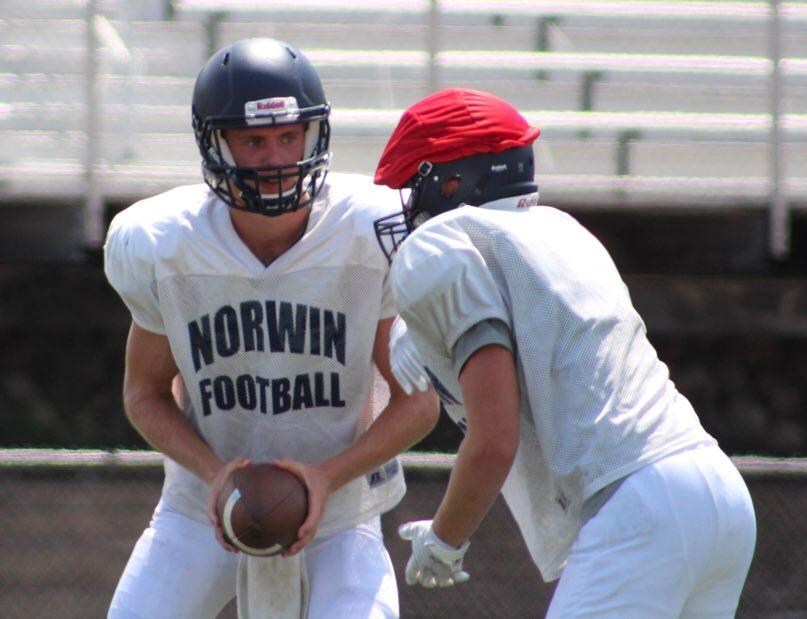 "Norwin senior quarterback Jack Salopek executes a run-pass option play during an August practice.{ }Watch the AHN Friday Night Rivals powered by IGS Energy ""Kickoff Special"" Aug. 23 at 7 p.m. on 22 the Point."