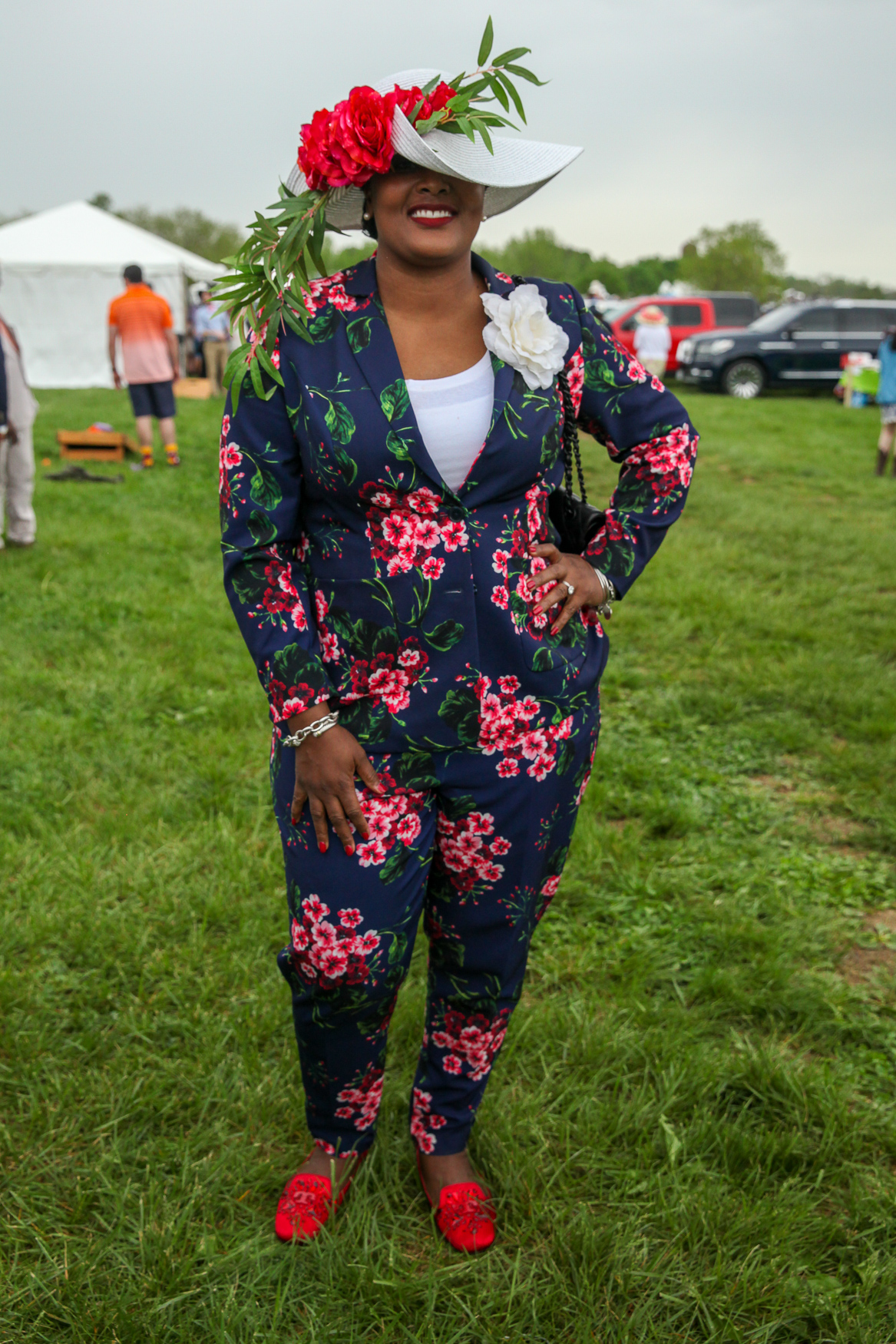 At Gold Cup:{ }This is a perfect flower power suit. (Amanda Andrade-Rhoades/DC Refined)