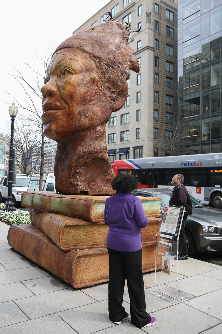 Even if you can't get into the museum, you'll still see artwork affiliated with the exhibition around the city, like this statue of Maya Angelou. (Amanda Andrade-Rhoades/DC Refined)
