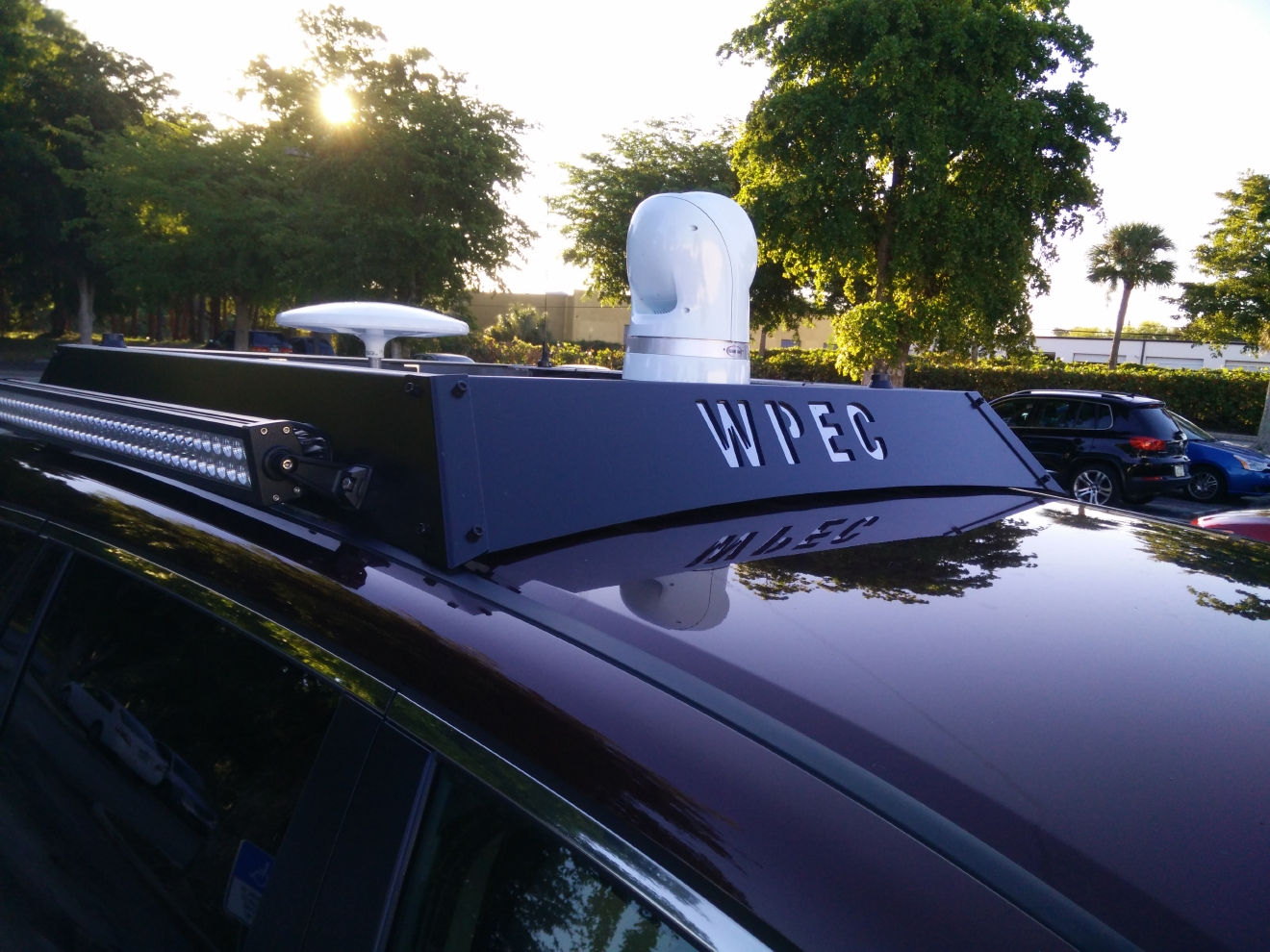 The Traffic Tracker 12 has a robotic camera on its roof as well as other transmission gear.  (Photo:  WPEC)