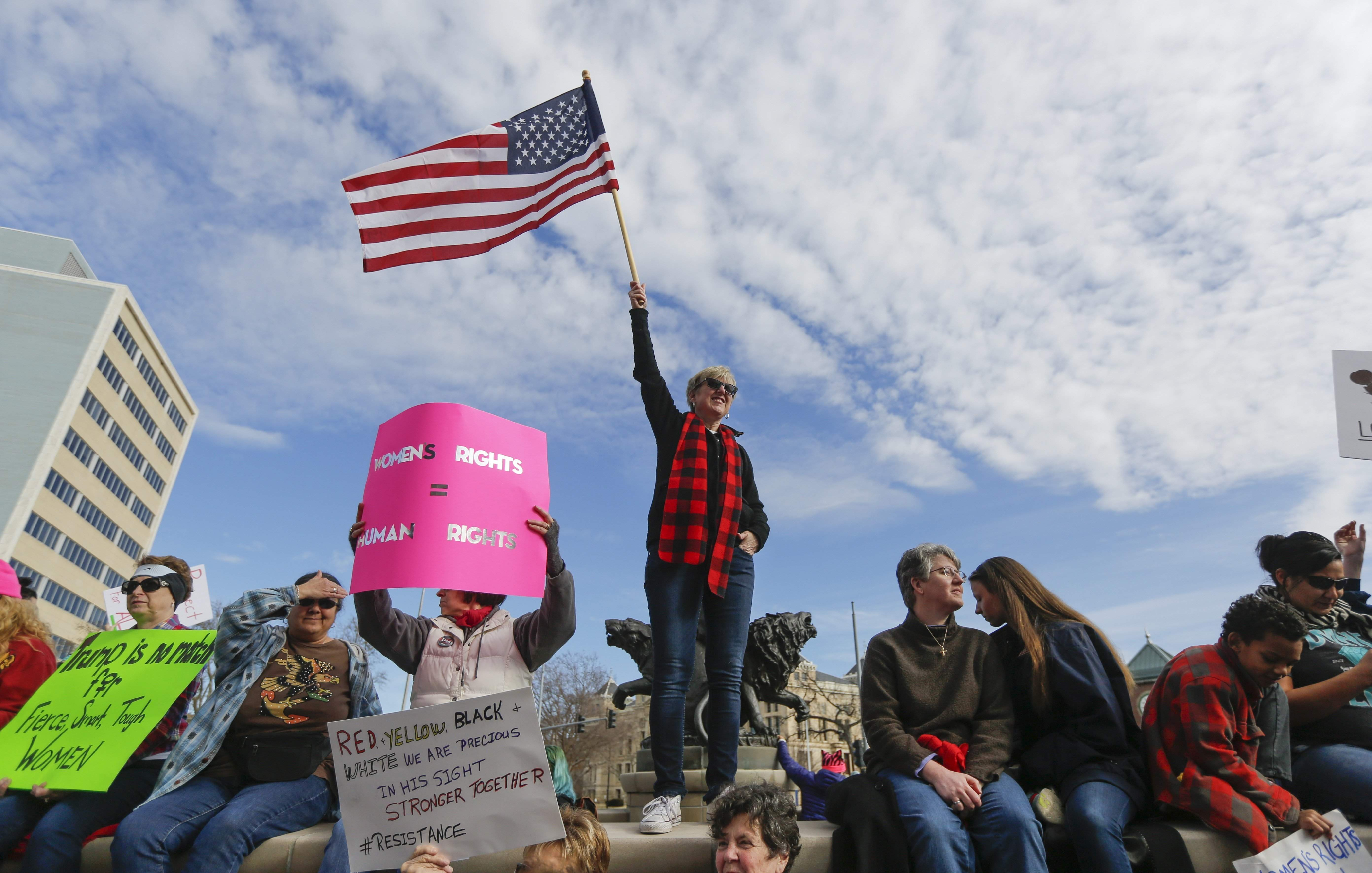 Several thousand people turned out at the Keeper of the Plains on Saturday, Jan. 21, 2017, to take part in the Women's March in Wichita, Kan. Similar events were held across the globe, with an estimated 500,000 turning out in Washington, DC. THE ASSOCIATED PRESS