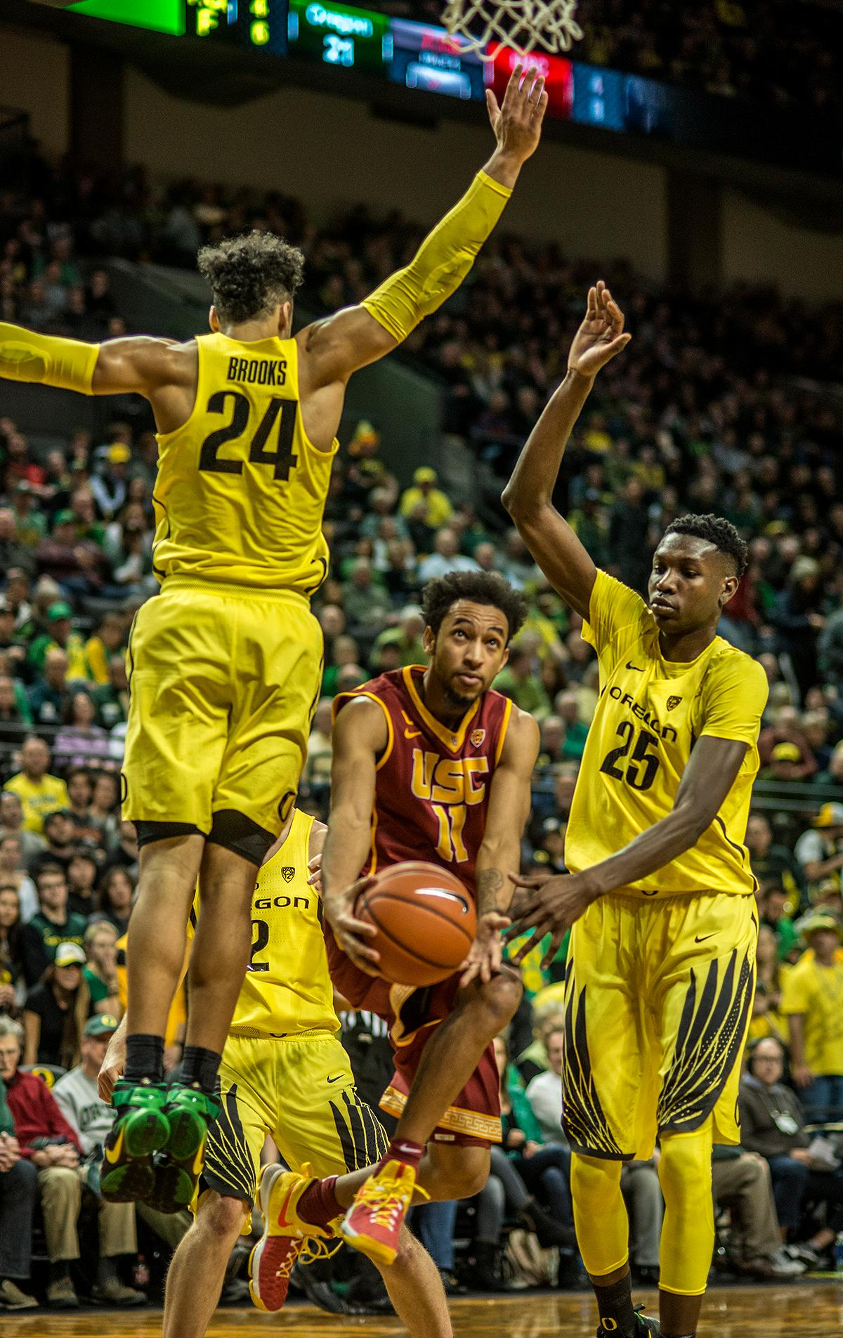 The Oregon Ducks beat the previously undefeated No.22 USC Trojans 84-61 on Friday night at Matthew Knight Arena. This win provided Head Coach Dana Altman with his 700th career victory. Dillon Brooks scored 28 points, Payton Pritchard had seven assists, and Jordan Bell and Chris Boucher combined for 20 points. Photo by Rhianna Gelhart, Oregon News Lab