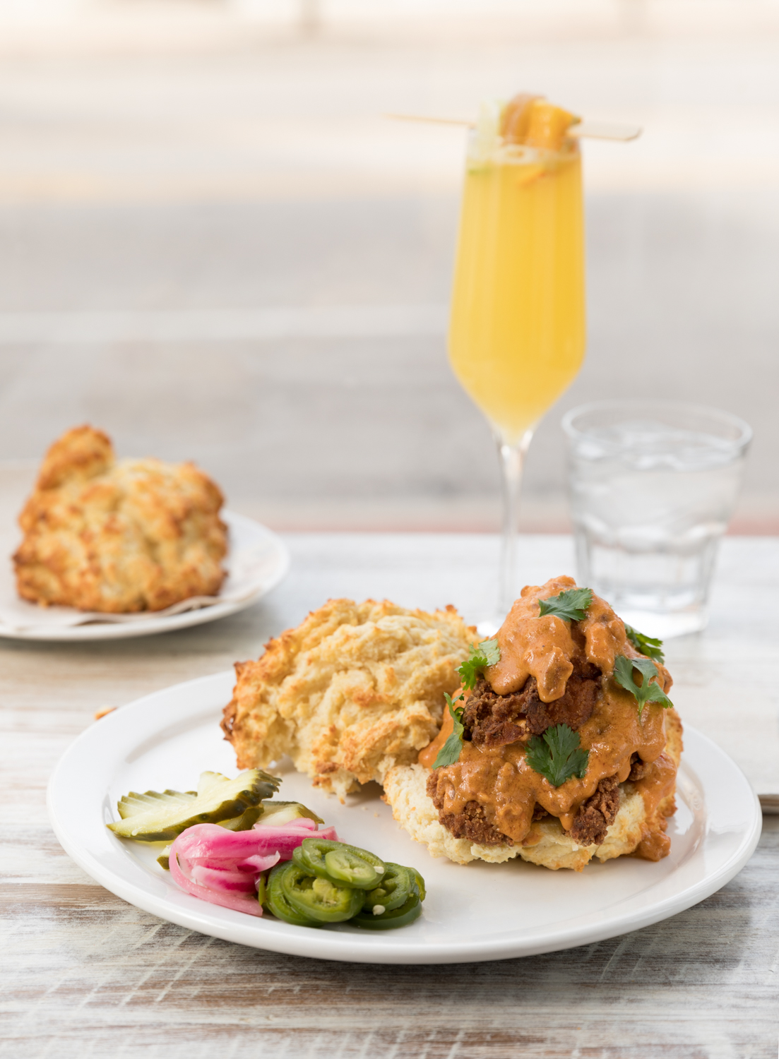 Fried Chicken in a Biscuit: fried chicken, buttermilk biscuit, with spicy chorizo gravy{ }/ Image: Marlene Rounds // Published: 1.6.19