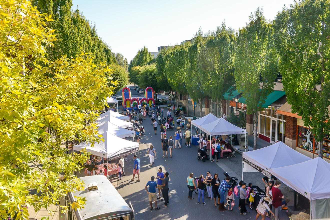 Arts festivals and other fun events often take place on weekend days at Redmond Town Center.