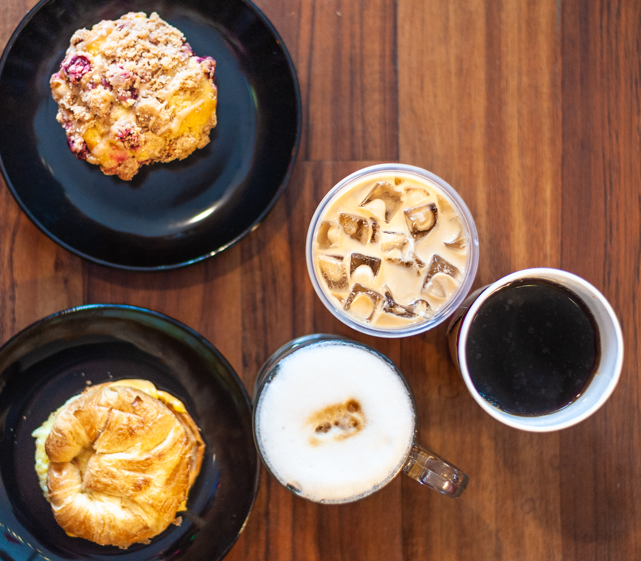 Breakfast Sandwich, scone, iced coffee, latte, and black coffee{ }/ Image: Kellie Coleman // Published: 1.31.21
