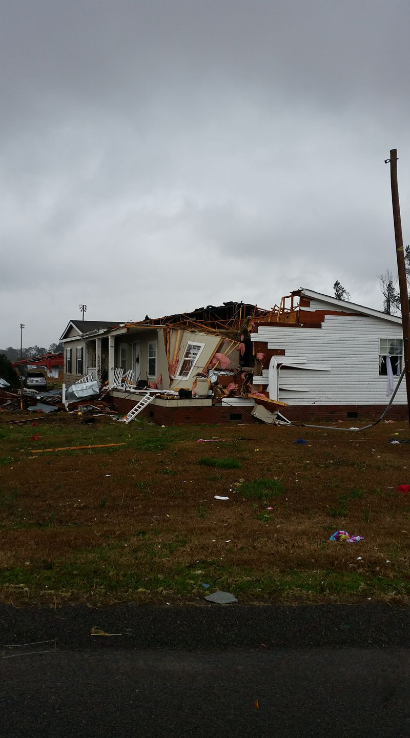 A storm damaged home behind New Baptist Church off of Adrian Highway. (Nichole McLean)