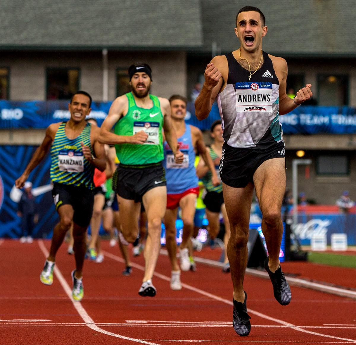 Adidas Robby Andrew hits the line in the 1,500 meters. Andrews finished second with a time of 3:34.88 and qualified for Rio. Photo by August Frank, Oregon News Lab