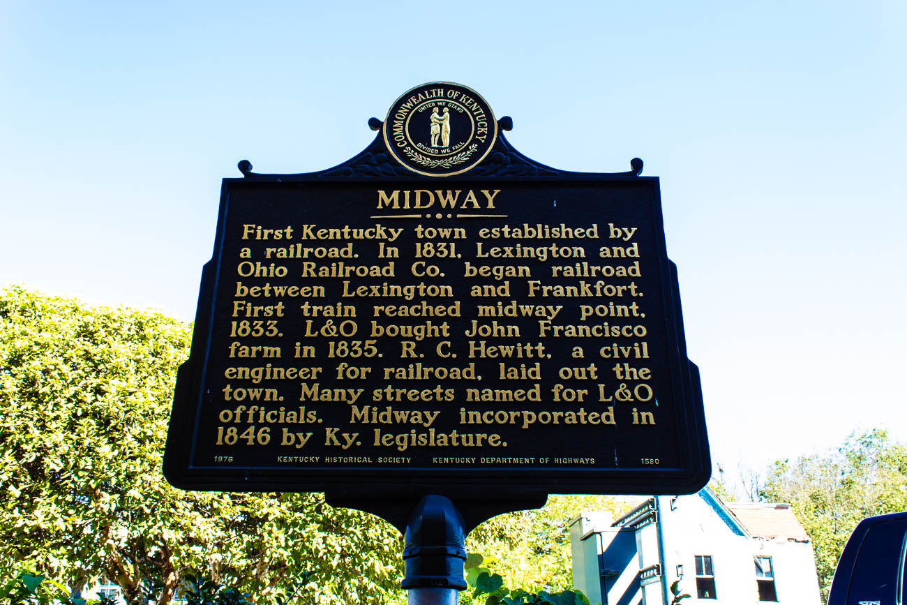 Historic Midway, KY was the first Kentucky town to be founded by a railroad—the Lexington and Ohio Railroad, specifically. But there were actually settlers there as early as 1771 when Kentucky was still part of Virginia. The railroad came rolling through Midway in the early 1830s, serving as a midpoint between Lexington and Frankfort. The town quickly became a hub for lodging, food, and supplies that were needed for people who worked on the railroad. Today, Downtown Midway is a popular home to cozy antique parlors, art galleries, and restaurants. It is 86 miles south of Cincinnati. / Image: Katie Robinson, Cincinnati Refined // Published: 10.23.18