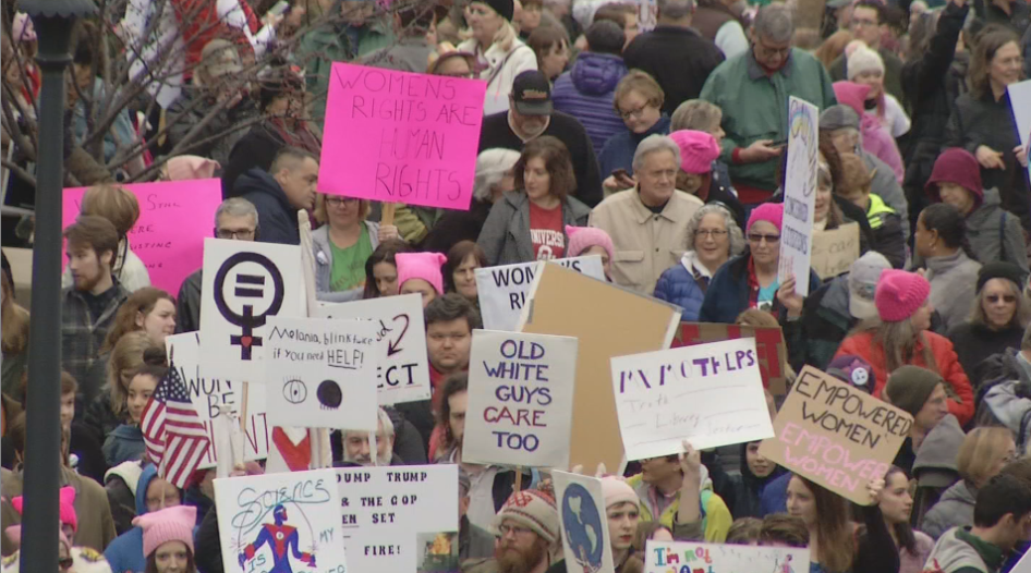 On the anniversary of President Trump's inauguration, hundreds of people met at the Boone County Courthouse for a solidarity rally chanting 'This is what democracy looks like.' (Megan Sanchez/KRCG 13)<p></p>