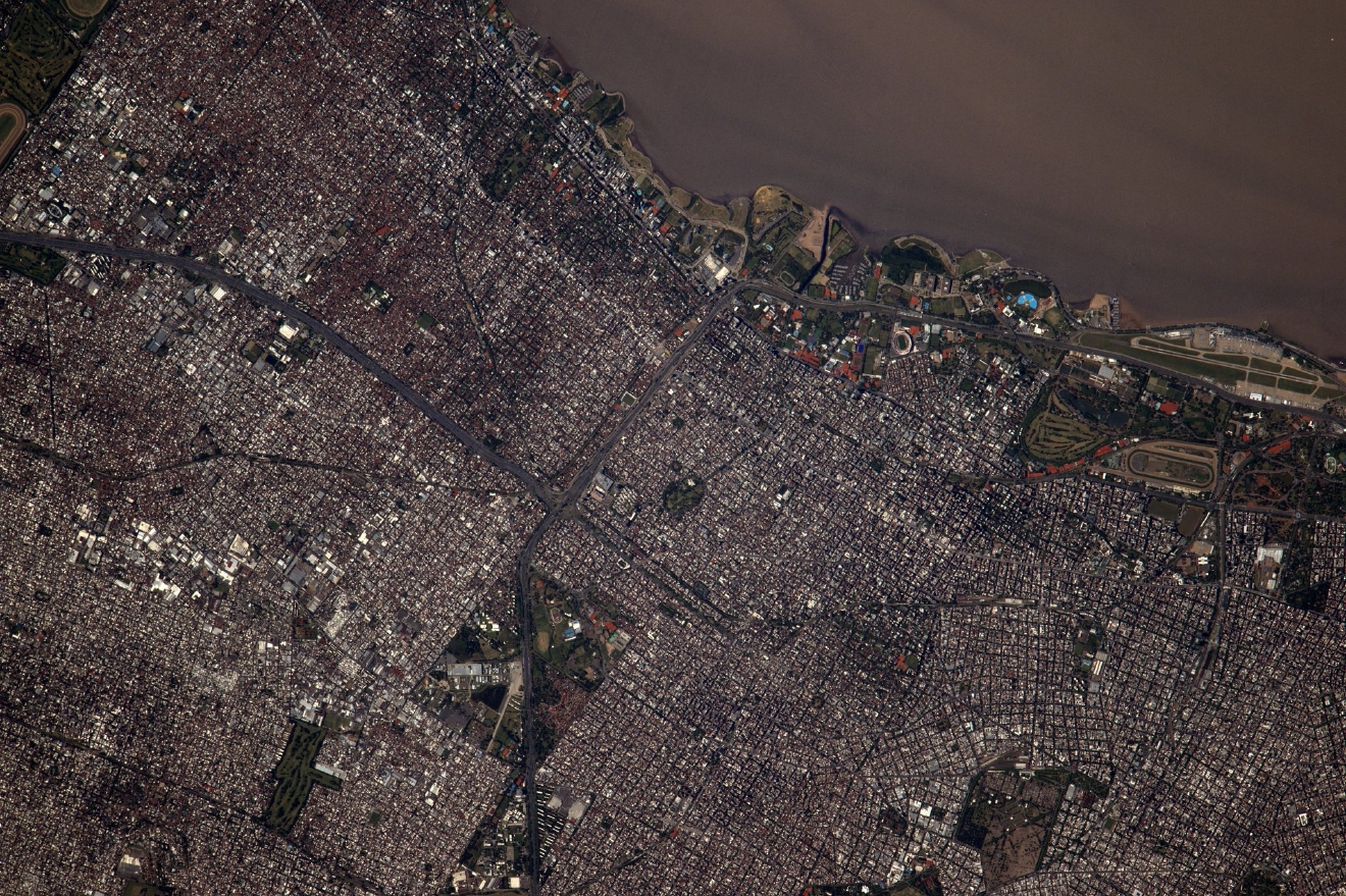 Buenos Aires, capital of #Argentina, seems to be full of life even from up here. #BuenosAires (Photo & Caption: Thomas Pesquet // NASA)