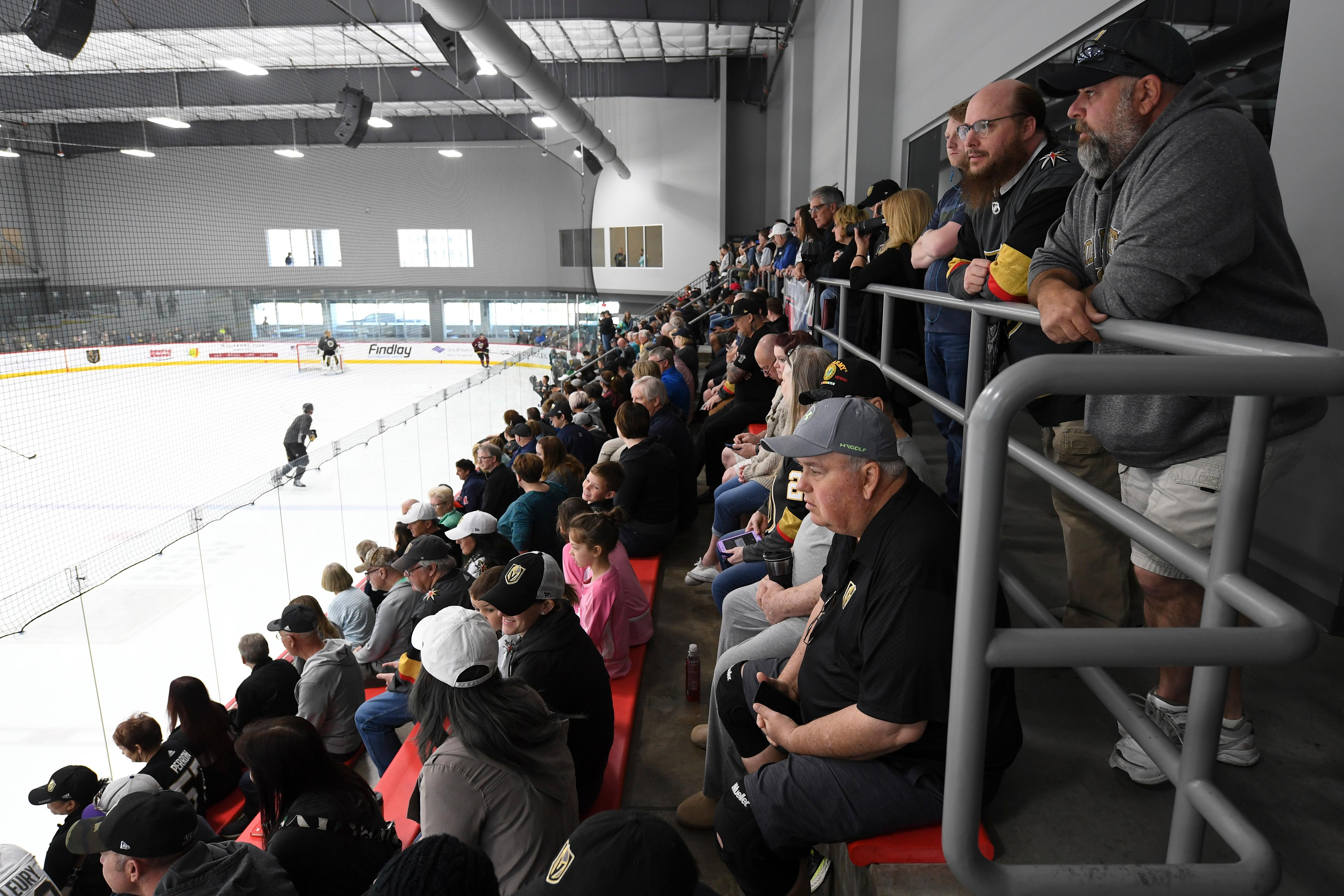 Fans pack the seating area during the Vegas Golden Knights practice Friday, April 20, 2018, at City National Arena in Las Vegas. CREDIT: Sam Morris/Las Vegas News Bureau