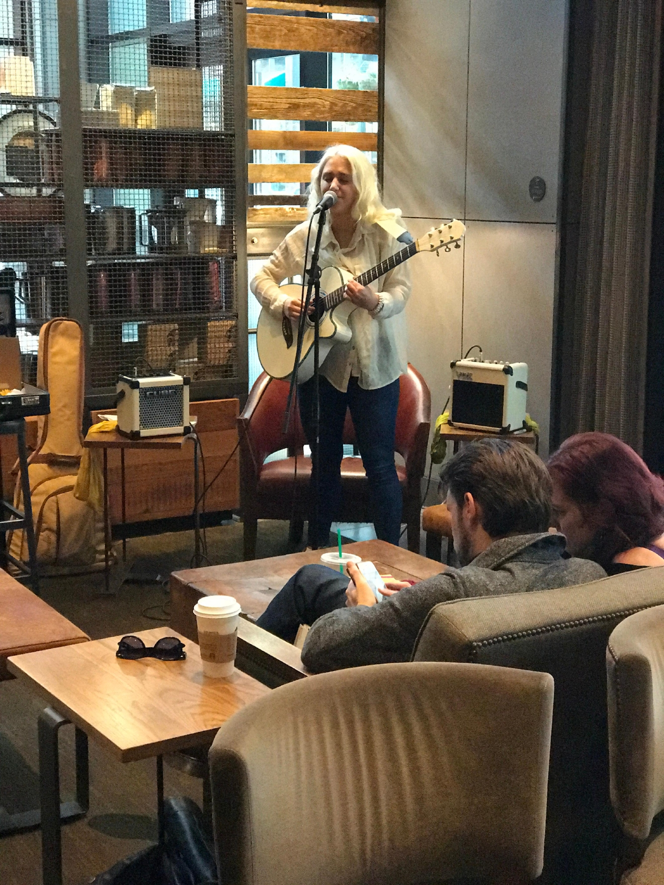 I swear, there's live music at every coffee shop in Portland, even Starbucks!  (Image: Kate Neidigh)