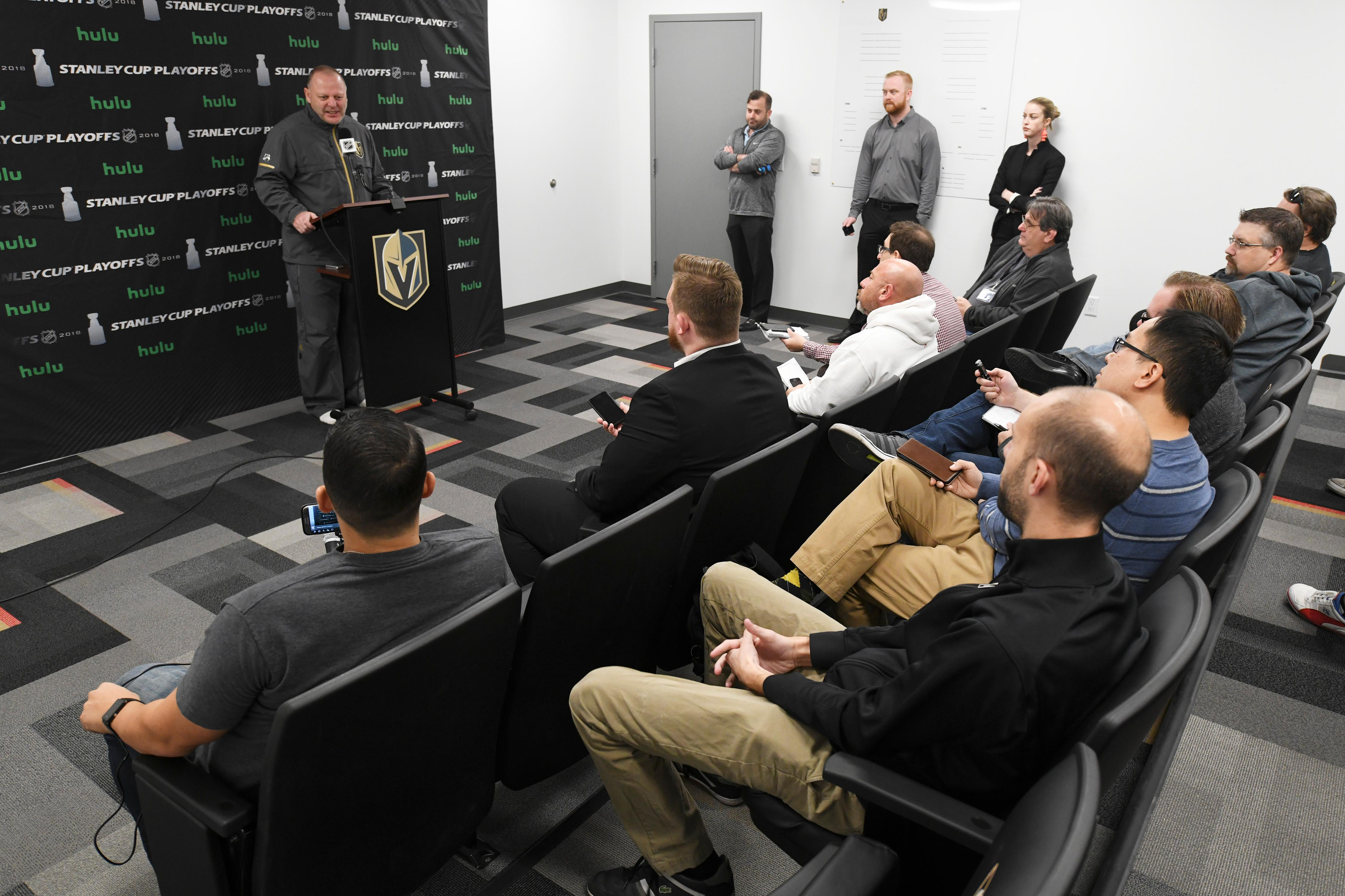 Vegas Golden Knights head coach Gerard Gallant addresses the media after the Golden Knights practice Friday, April 20, 2018, at City National Arena in Las Vegas. CREDIT: Sam Morris/Las Vegas News Bureau