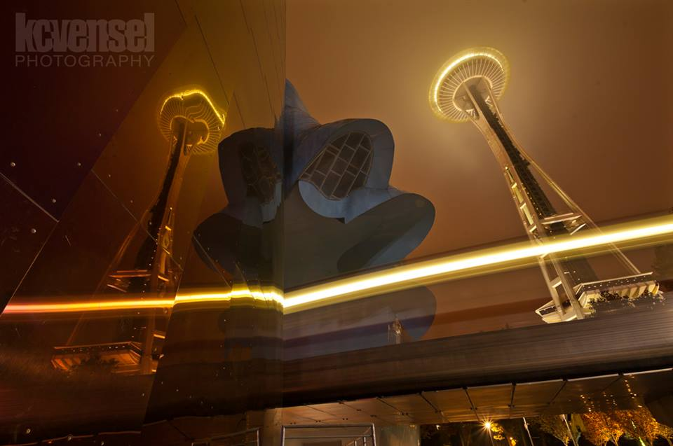 EMP, Monorail, Space Needle on a foggy night. KCVensel Photography