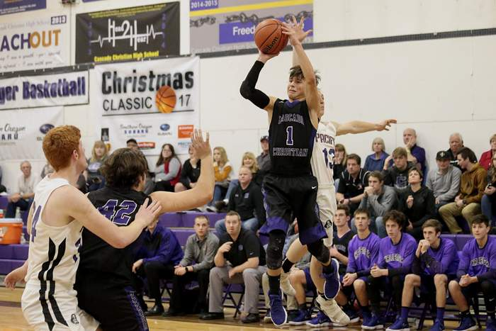 Opening Round of the Christmas Classic, Cascade Christian boys Varsity vs. Pacific High. [ // PHOTOS BY: LARRY STAUTH JR]