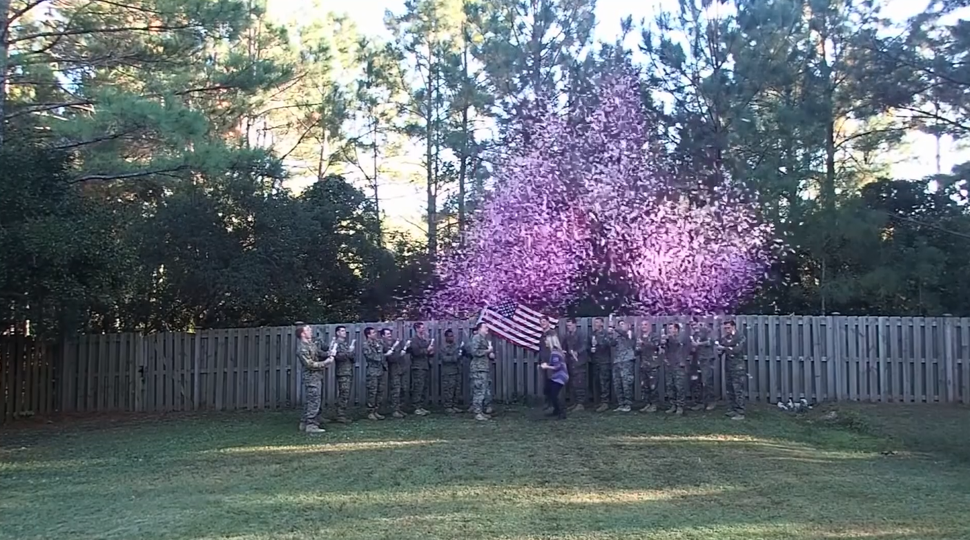 <p>Cassie Lohrey found out that she was pregnant a week after burying her husband, Navy corpsman Ryan Lohrey, on Veterans Day, she held a gender reveal party surrounded by{&amp;nbsp;}a group of Marine and Navy corpsmen who served with him (Photo: CNN Newsource)</p>