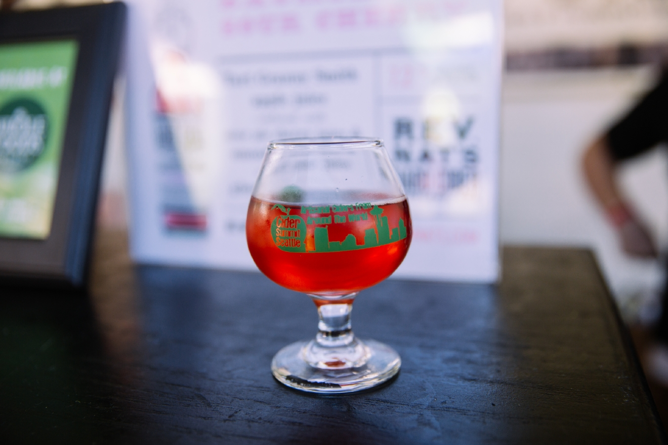 Look at that color! This cider combines tart Granny Smith apple juice, sour pie cherry juice, smooth pear juice and - here's the kicker - a hint of ghost chili peppers. And yes, it is a kicker! The Portland, Oregon cidery is known to push the boundaries on flavors, and we were happily surprised with the Sour Cherry. (Image: Joshua Lewis / Seattle Refined)