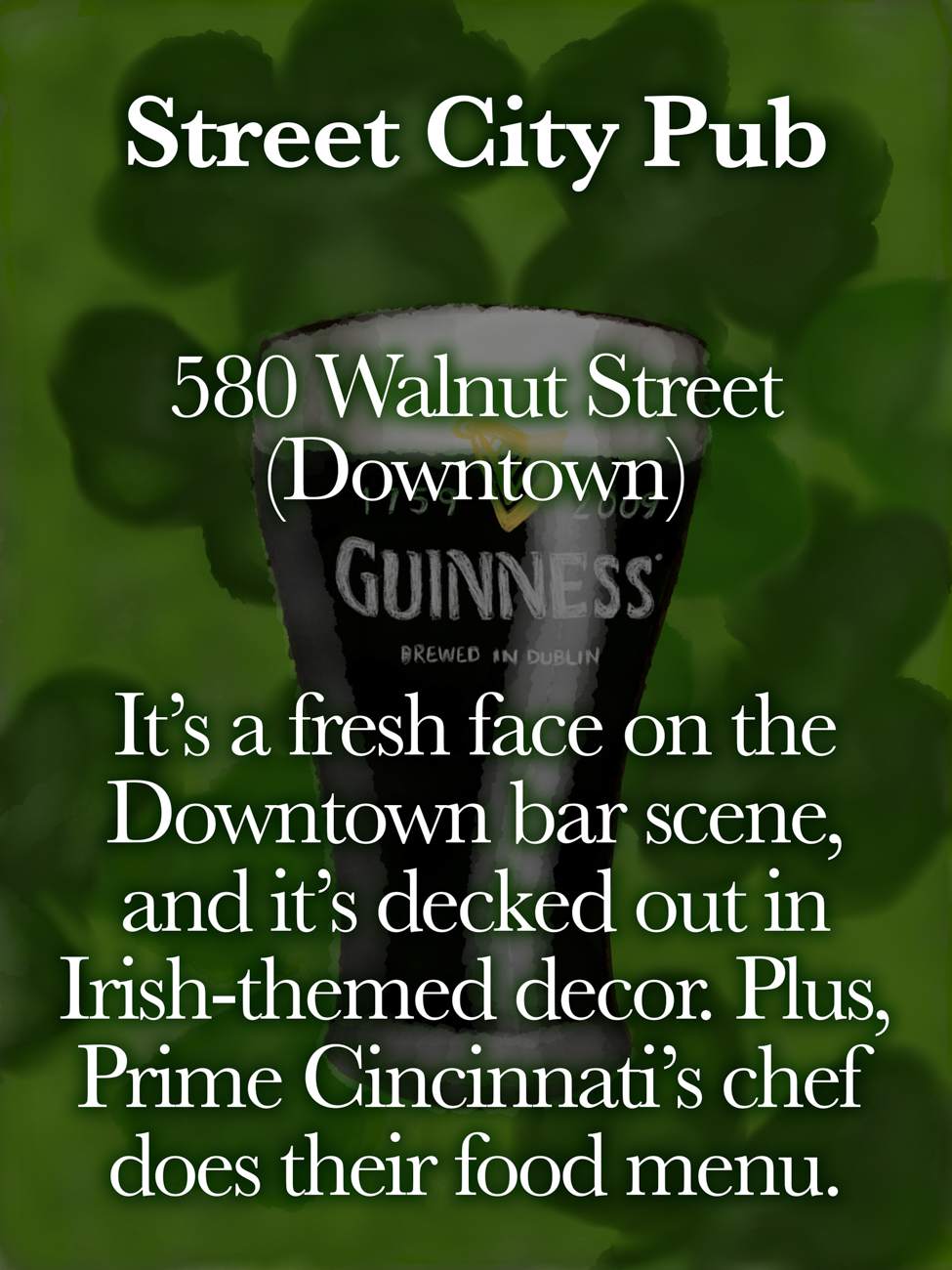 Street City Pub / ADDRESS: 580 Walnut Street (Downtown) // Published: 3.16.19