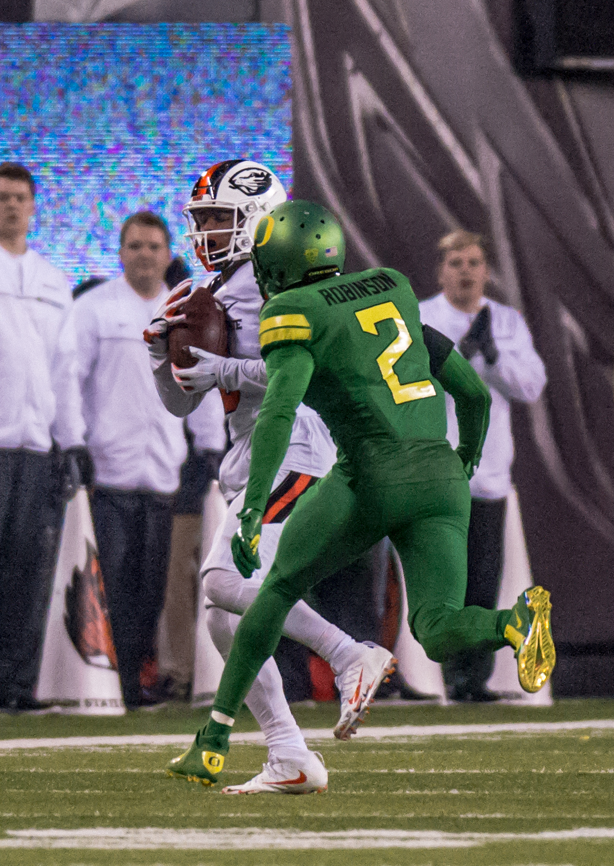 Oregon State wide receiver Trevon Bradford (#8) catches a long pass. The Oregon Ducks defeated the Oregon State Beavers 69 to 10 in the 121st Civil War game at Autzen Stadium in Eugene, Ore. on Saturday November 25, 2017. Photo by Ben Lonergan, Oregon News Lab
