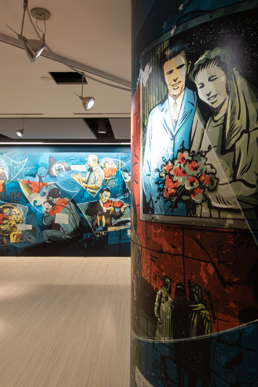 Created by local artist Keith Neltner, the lobby mural tells the story of local survivors via a graphic novel-inspired design. / Image: Ronny Salerno // Published: 1.14.19