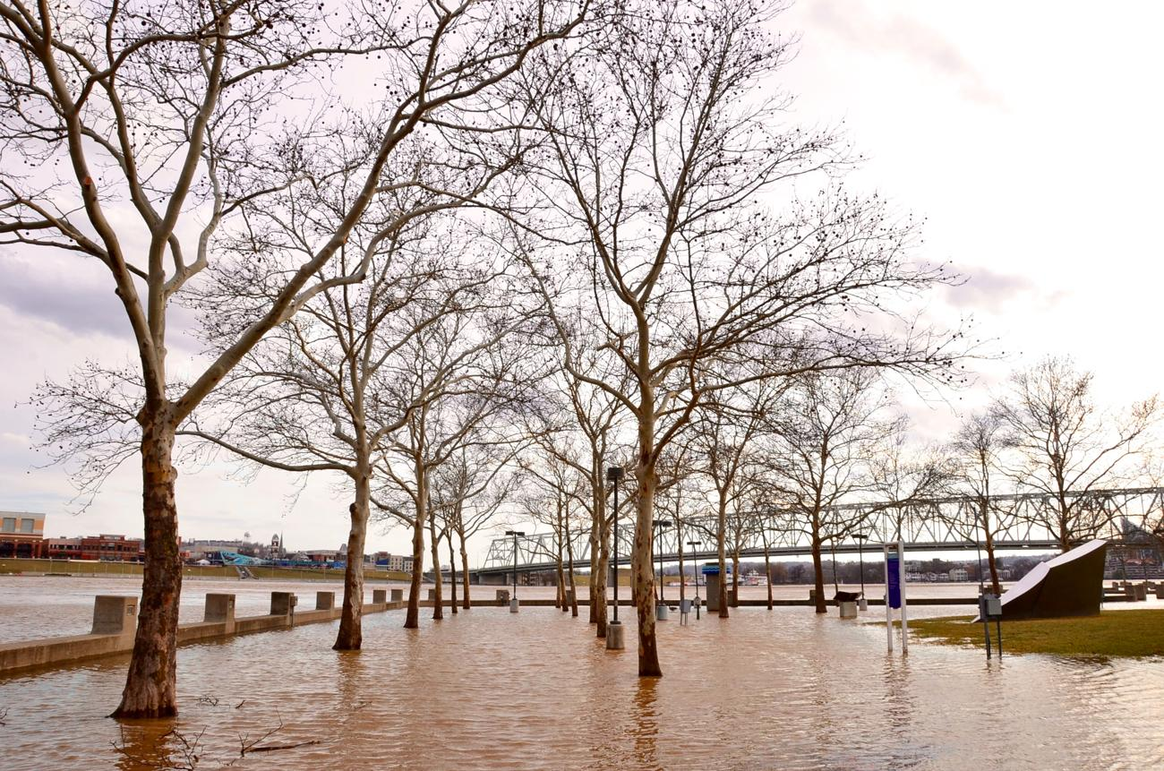 On Tuesday, February 20, the Ohio River reached a crest around 55.5 feet, which puts it in flood-level status. (Note: The flood stage is set at 52 feet.) From Sawyer Point to Covington (and beyond), this gallery of pics showcases various areas where the river has flooded normally walkable terrain. Moreover, the city set a record high temperature on Tuesday at 79 degrees. The previous record was 72, and that was only set two years ago. / Image: Leah Zipperstein, Cincinnati Refined // Published: 2.21.18