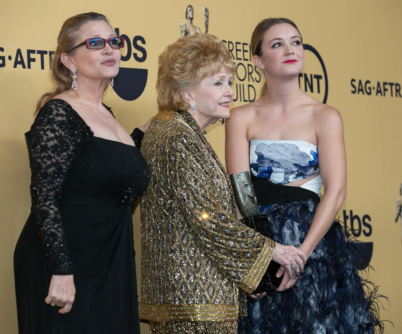 Celebrities attend 21st Annual SAG Awards - Press Room at Los Angeles Shrine Exposition Center.                                    Featuring: Carrie Fisher, Debbie Reynolds, Billie Catherine Lourd                  Where: Los Angeles, California, United States                  When: 22 Jan 2015                  Credit: Brian To/WENN.com