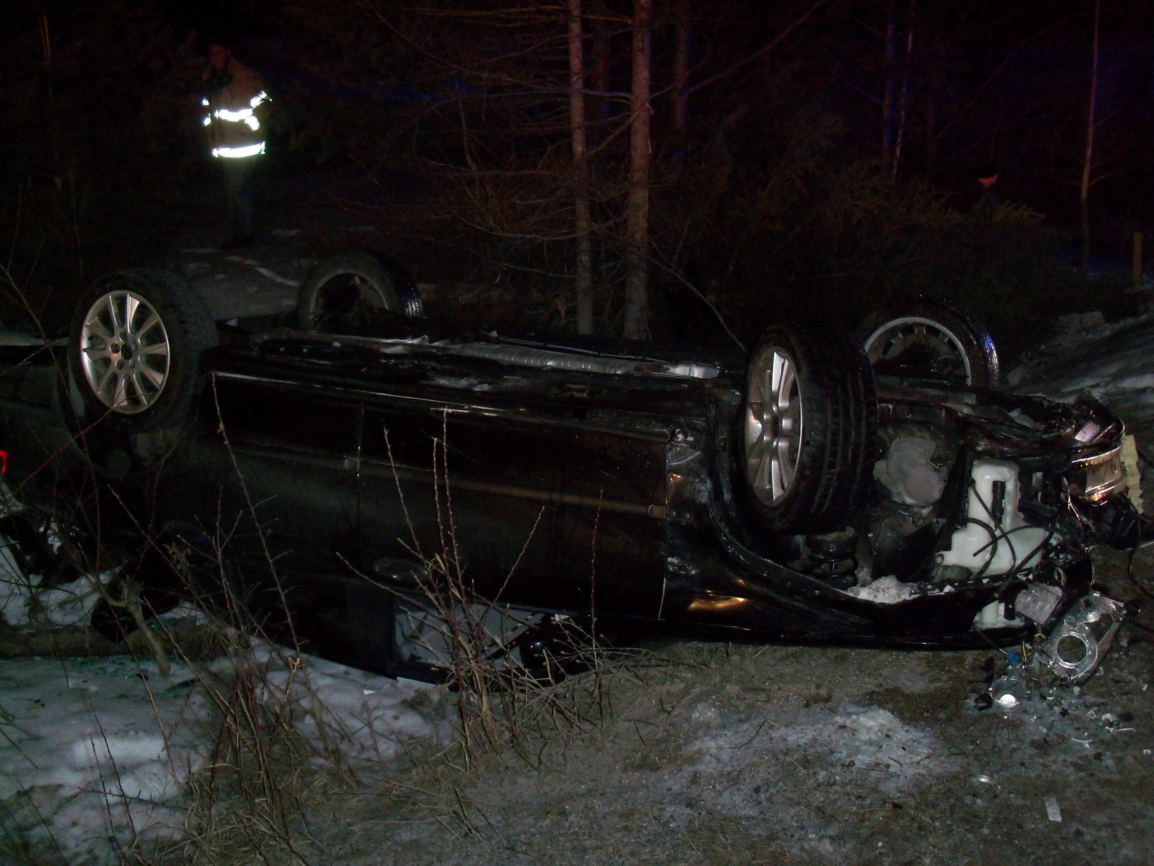 The Cheboygan County Sheriff's Department was called to the area of Butler Road and North Black Road for a rollover accident just before 9 p.m. Saturday.{ }(Photo Courtesy: Cheboygan County Sheriff's Office)