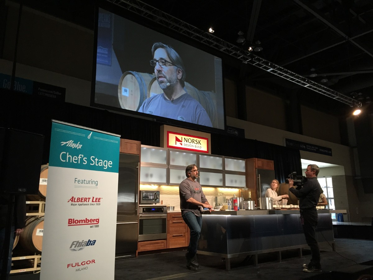New York's Marco Canora extolling the virtues of bone broth on the Chef's Stage. (Image: Frank Guanco)