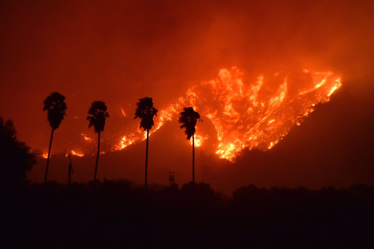 Ferocious winds in Southern California whipped up an explosive wildfire that prompted evacuation orders for nearly 8,000 homes, authorities said. (Ventura County Fire Department)