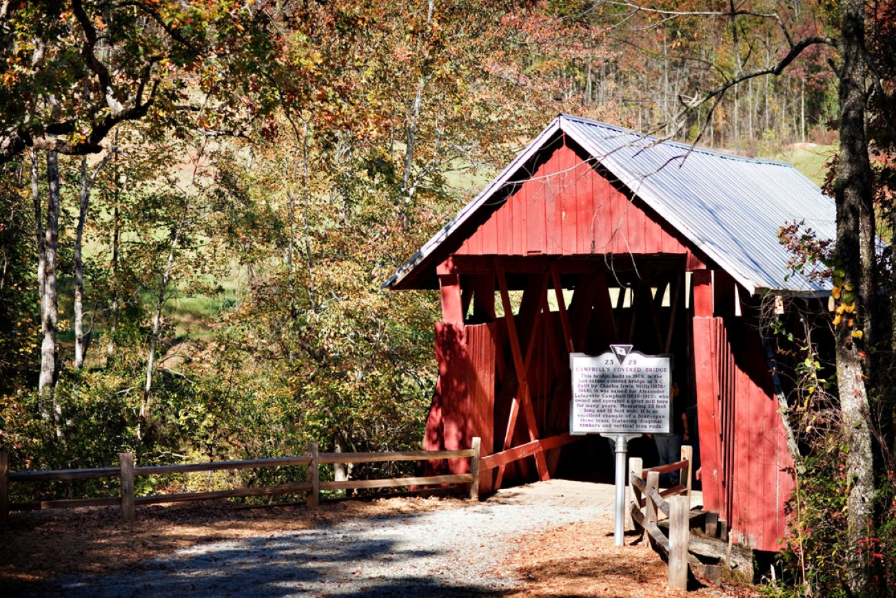 If you dig the historical details, make sure you check out Campbell's Covered Bridge, the last of its kind in South Carolina. / Image courtesy of Visit Greenville // Published: 6.24.20