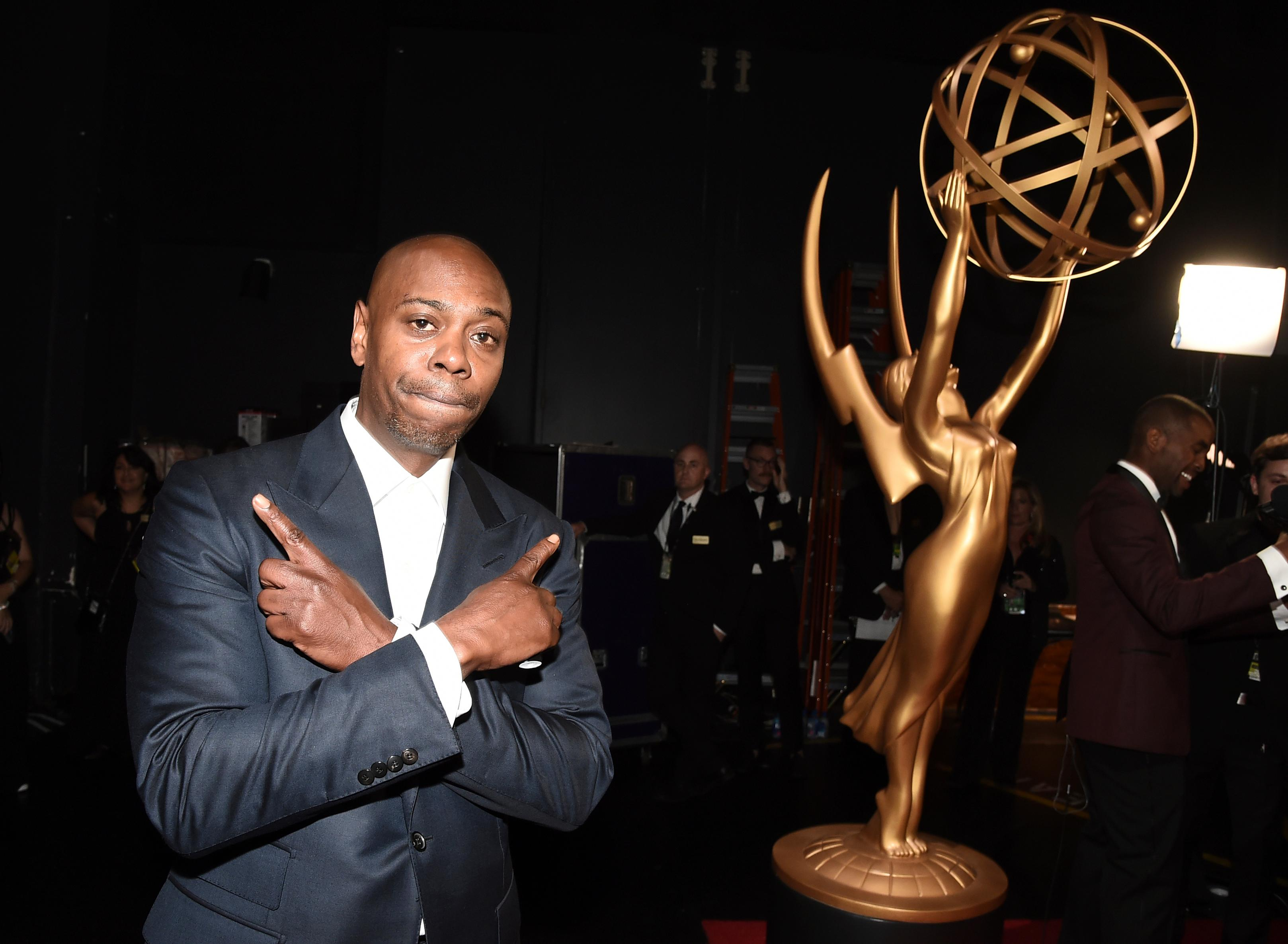 Dave Chappelle poses backstage at the 69th Primetime Emmy Awards on Sunday, Sept. 17, 2017, at the Microsoft Theater in Los Angeles. (Photo by Dan Steinberg/Invision for the Television Academy/AP Images)