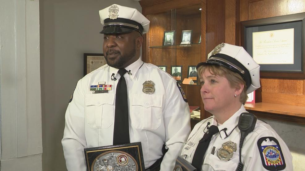 Columbus Police Officer Randall Lyons, along with Columbus Police Officer Deb Paxton have been named by Central Ohio Crimestoppers as the February 2018 Officers of the Month. (WSYX/WTTE)