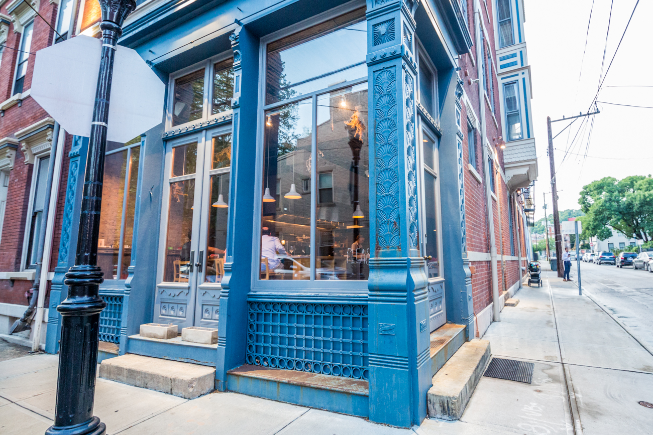 PLACE #4: Please / ADDRESS: 1405 Clay Street (45202) / Please in Over-the-Rhine has one of the most photographed bathrooms in Cincinnati. The thing even has its own hashtag: #pleasepotty. Unique tiles in a mix of pastel and primary colors cover the walls, and a single giant mirror above the sink hangs ready for your closeup. / Image: Catherine Viox // Published: 8.8.19