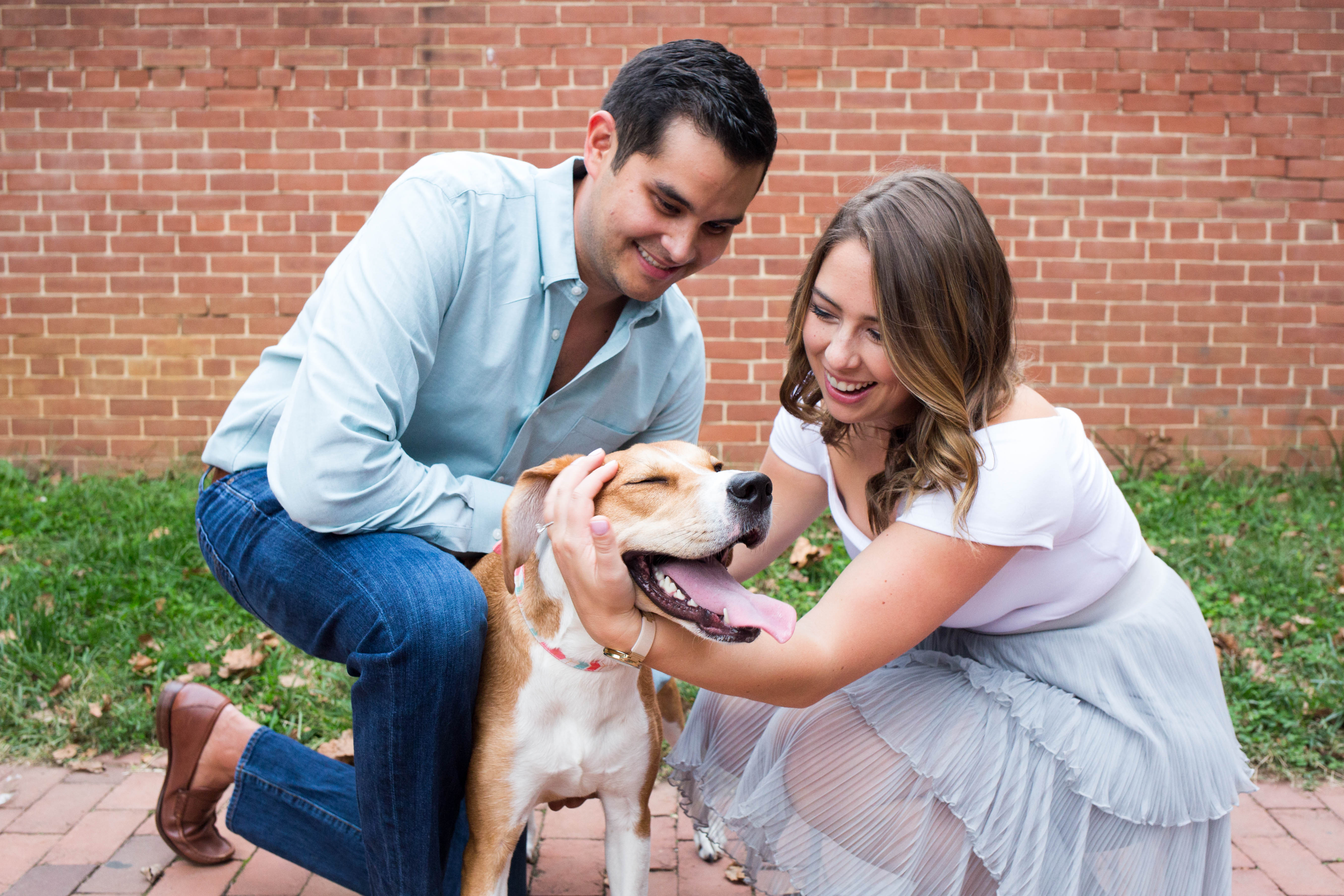 "Meet Penny, a two-year-old Beagle/Hound mix who recently had the honor of participating in mom and dad's engagement photoshoot! Though Penny won't be in attendance at the wedding (don't worry, she's being treated to an all-expenses paid vacation at Dogtopia that week), her parents still wanted her prominently featured in their engagement photos as ""she is family."" In fact, Penny was a gift from her dad to her mom on New Years Day in 2016; she was adopted from Homeward Trails in Fairfax Station. Penny loves peanut butter, going to the dog park { }and watching The Bachelor with her mom and dad, but she is not a big fan of the Roomba. Her special skills include eating whatever she pleases and maintaining an awesome figure -- we're jealous Penny! If you or someone you know has a pet you'd like featured, email us at dcrefined@gmail.com or tag #DCRUFFined and your furbaby could be the next spotlighted! (Image: Amanda Andrade-Rhoades/ DC Refined){ }{ }"