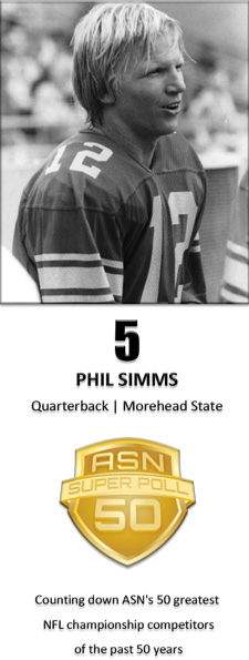 Phil Simms finished his career at Morehead State with a school-record 5,545 yards on 48.9% passing (409 of 835) with 32 touchdowns and 45 interception. But he attracted the attention of San Francisco 49ers head coach Bill Walsh, who nearly drafted Simms instead of Joe Montana in the 1979 NFL Draft. (Photos courtesy of Morehead State Athletics)