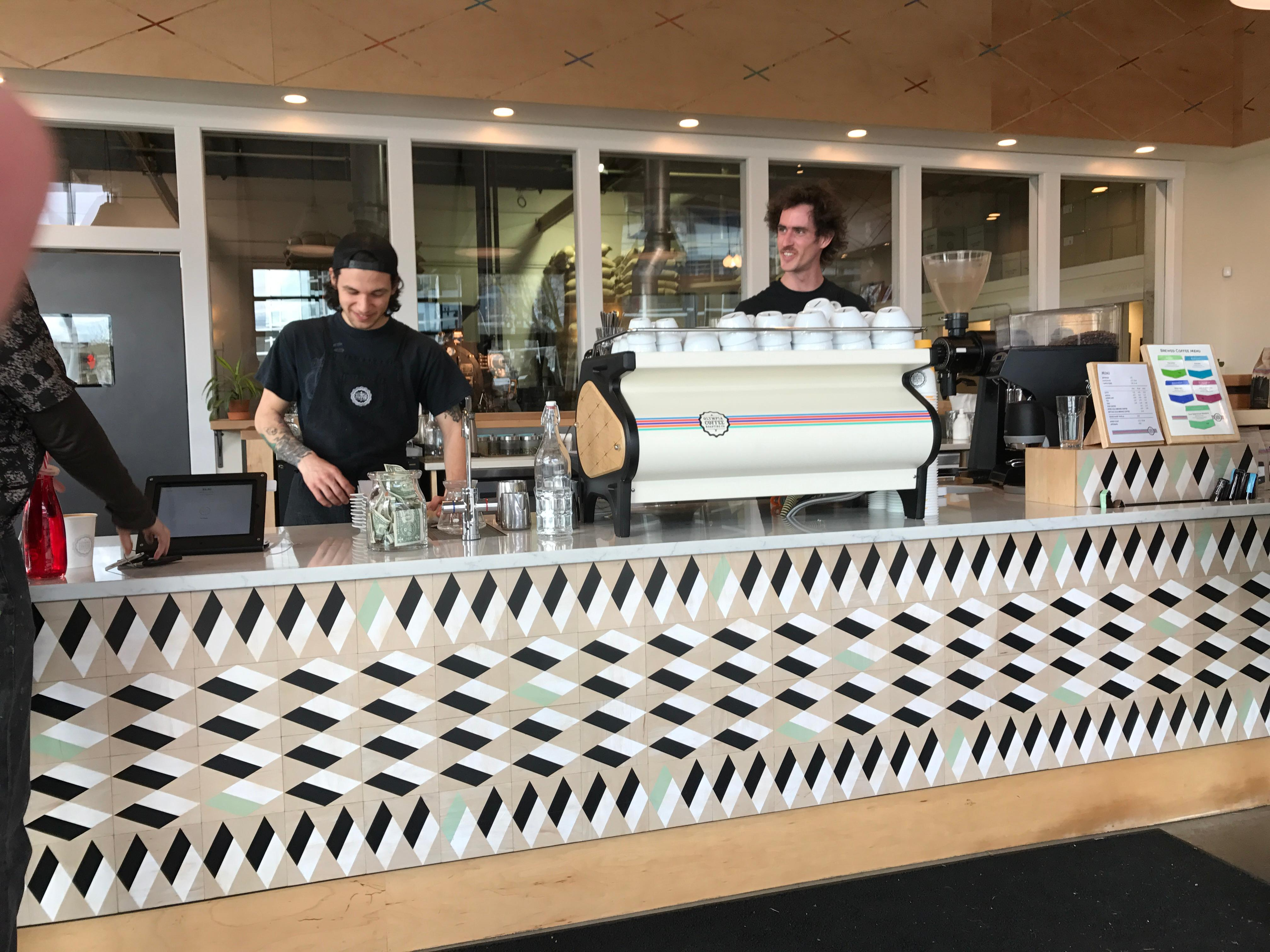 For an afternoon pick-me-up, stop by the Olympia Coffee Roasting Co. for a really good cup of coffee. (Image: Rebecca Mongrain/Seattle Refined)
