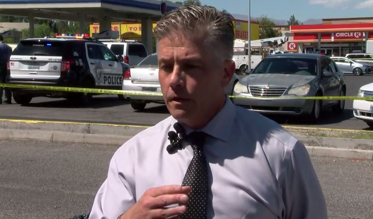Lt. Dan McGrath of the Las Vegas Metropolitan Police Department discusses the multiple stabbing incidents Wednesday, April 19, 2017, in Las Vegas. (Donald Lane/KSNV)