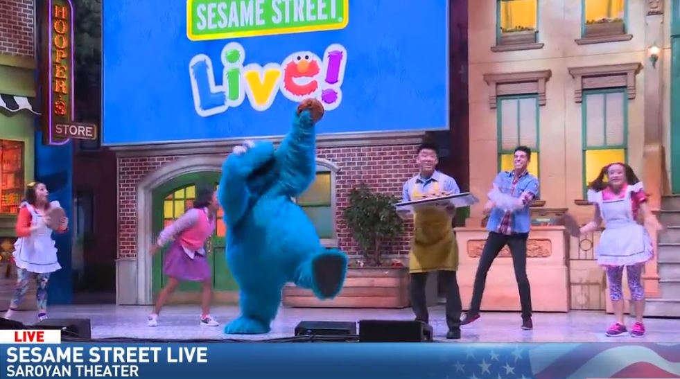 The Cookie Monster performing a song about cookies!