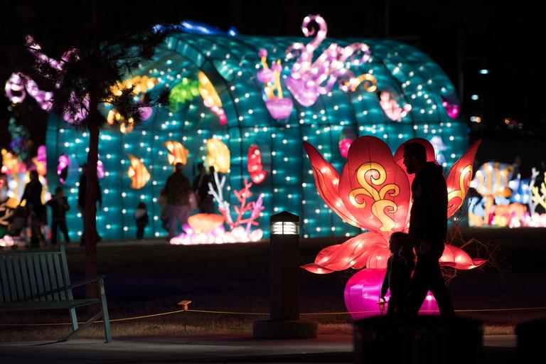 A man and child walk past a flower lantern on the opening night of the China Lights lantern festival Friday, January 19, 2018, at Craig Ranch Regional Park in North Las Vegas. The festival, which features nearly 50 silk and LED light displays comprised of over 1000 elements, runs through February 25th. CREDIT: Sam Morris/Las Vegas News Bureau