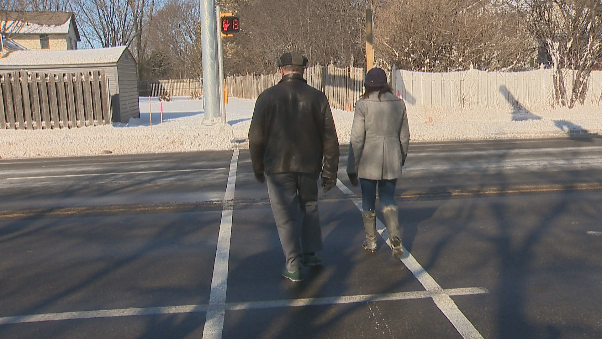 New pedestrian hybrid beacon on Riverside Drive in Allouez, February 6, 2018. (WLUK)<p></p>