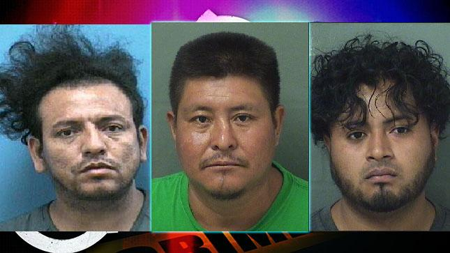 Miguel Alvarez Maradiaga, Joel Gomez-Chilel, and Byron Estrada are facing charges of human trafficking. Image Courtesy: PBSO|Martin County Sheriff's Office.