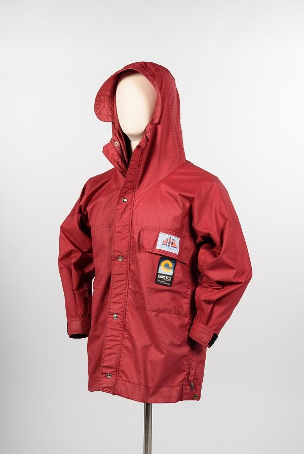 Early Gore-Tex hooded rain jacket, about 1976 Mountain Safety Research )MSR), Seattle, maker. Gift of Mary Ann Dobratz. Copyright MOHAI Collection.{ }