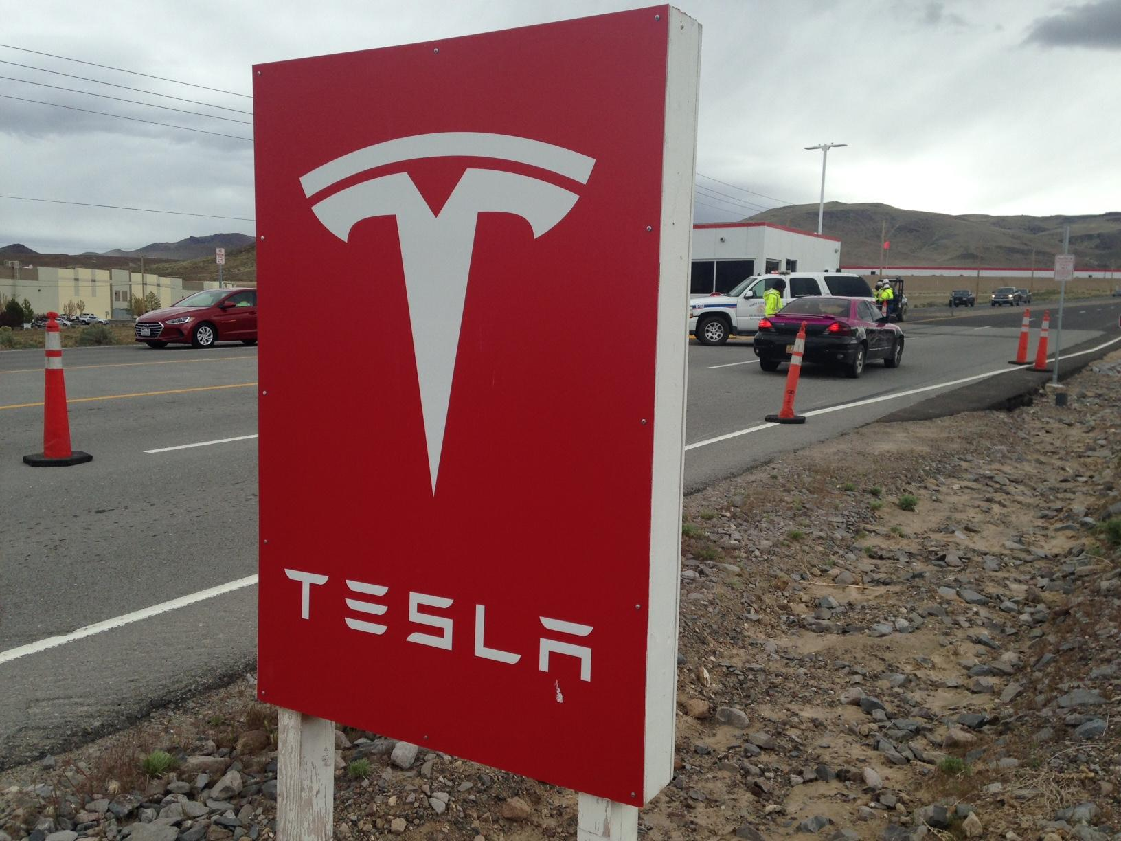 Authorities respond to a report of a hazardous spill at the Tesla Gigafactory site in Storey County, Nev., on Monday, April 17, 2017. (Sinclair Broadcast Group)